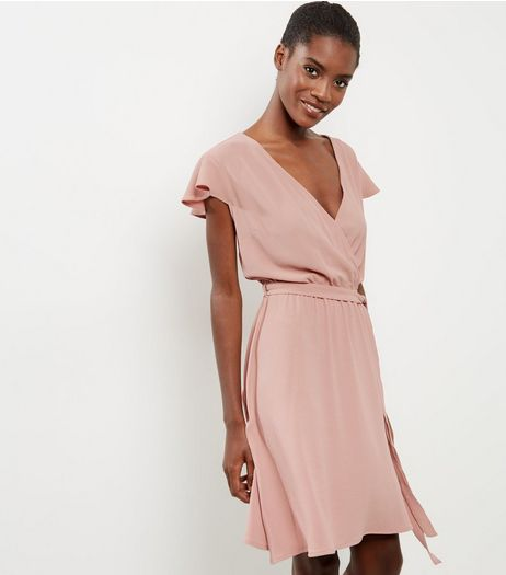 Pink Crepe Wrap Front Frill Trim Dress | New Look