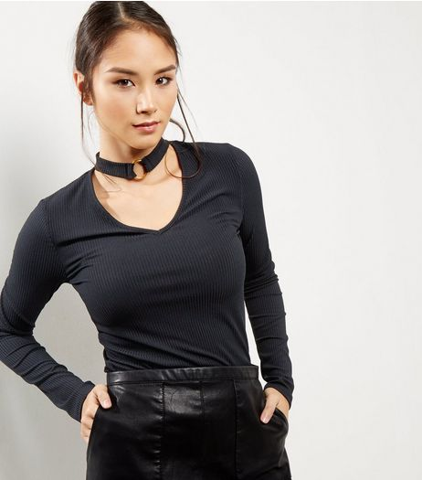 Black Choker Ring Neck Ribbed Top | New Look