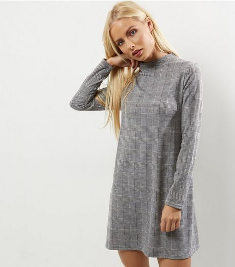 Black Houndstooth Funnel Neck Swing Dress | New Look