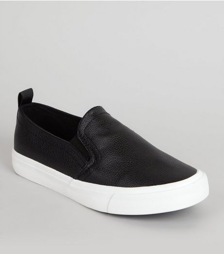 Teens Black Metallic Slip On Trainers | New Look