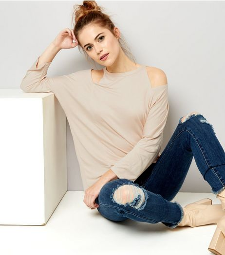 Cream Cut Out Shoulder Long Sleeve Top | New Look