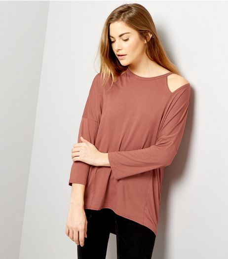 Light Brown Cut Out Shoulder Long Sleeve Top | New Look