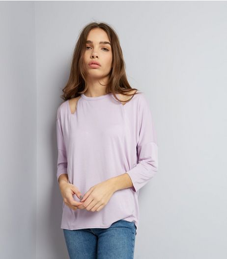 Lilac Cut Out Shoulder Long Sleeve Top | New Look