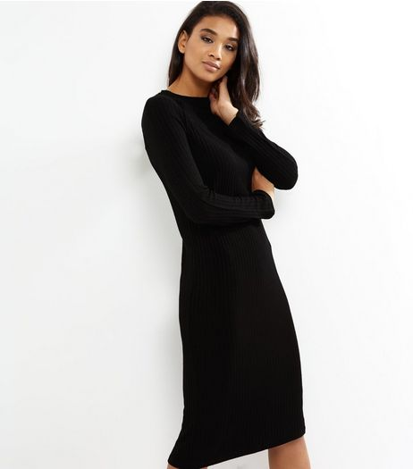 Black Ribbed Long Sleeve Midi Dress | New Look