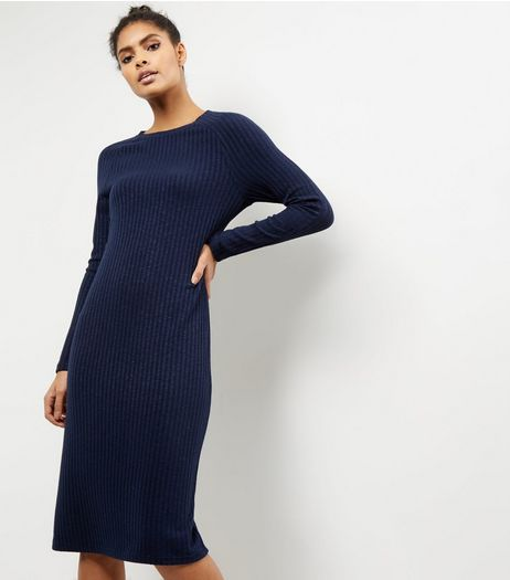 Navy Ribbed Long Sleeve Midi Dress | New Look