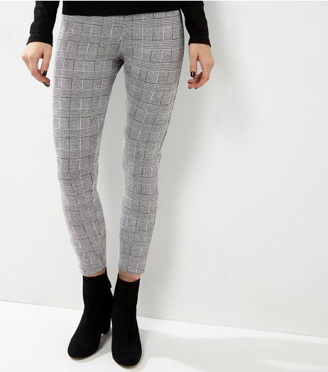 Black Jacquard Check Leggings  | New Look