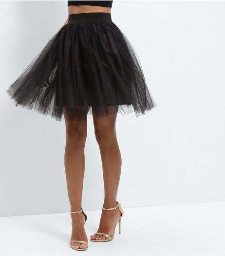 Cameo Rose Black Tulle Pleated Mini Skirt  | New Look