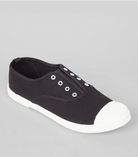 Black Contrast Toe Plimsolls | New Look