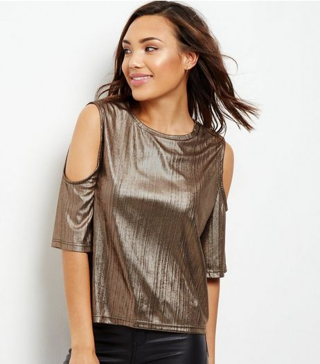 Cameo Rose Bronze Metallic Cold Shoulder T-Shirt  | New Look