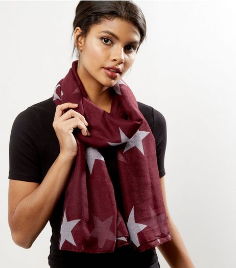 Burgundy Star Print Longline Scarf | New Look