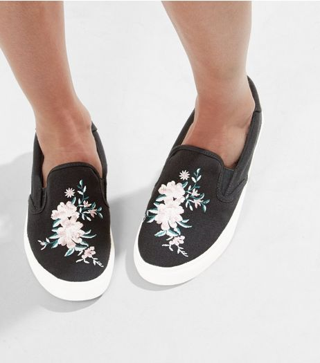 Black Floral Print Plimsolls | New Look