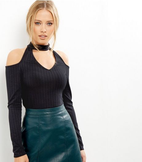 Black Ribbed Choker Neck Cut Out Cold Sholder Top | New Look