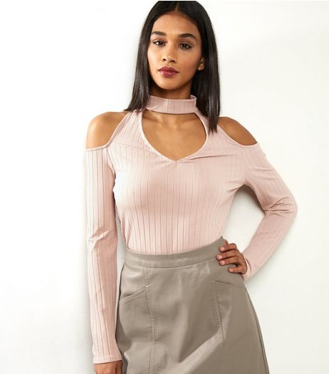 Shell Pink Ribbed Choker Neck Cut Out Cold Sholder Top | New Look