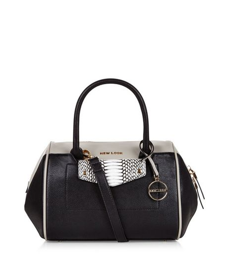 Black Snakeskin Panel Contrast Bowler Bag | New Look