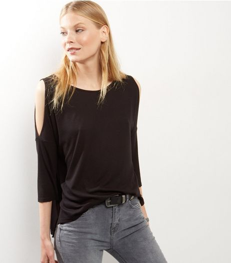 Black Ribbed Cold Shoulder Top | New Look