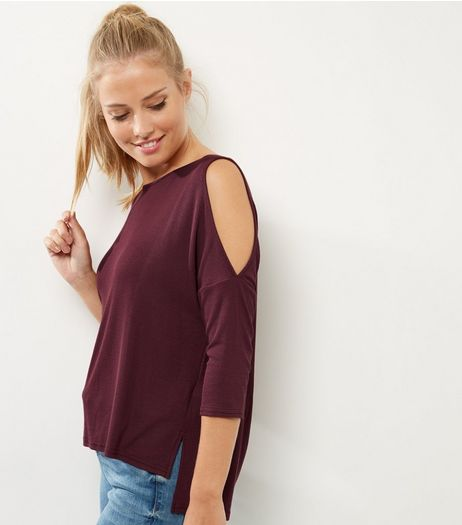 Burgundy Ribbed Cold Shoulder Top | New Look