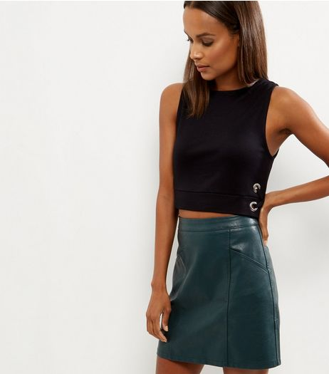 Black Eyelet Tie Side Sleeveless Crop Top  | New Look