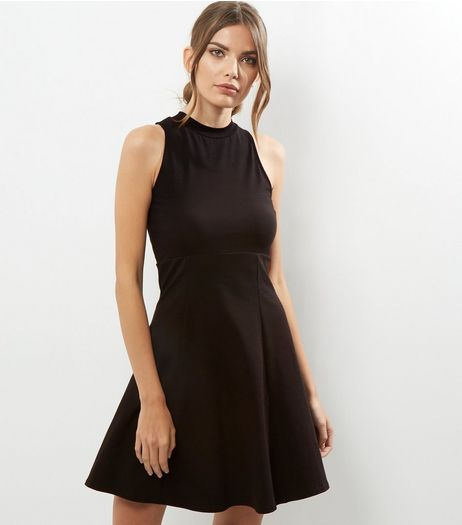 Black High Neck Skater Dress | New Look