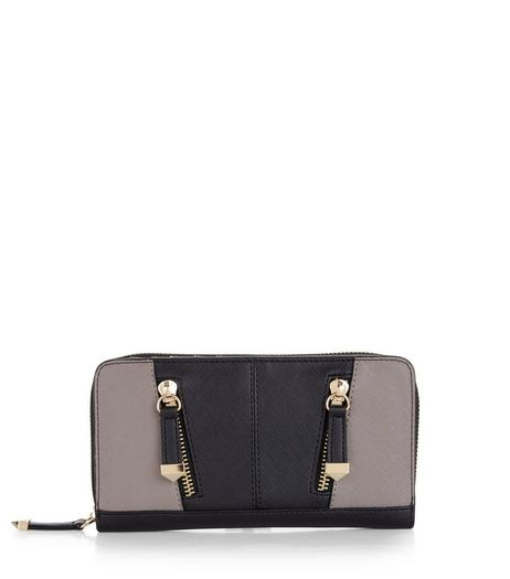 Black Contrast Panel Zip Detail Purse | New Look