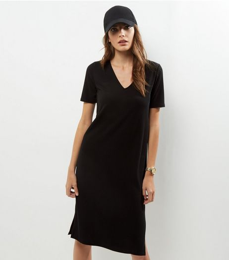 Black Ribbed V Neck Midi T-shirt Dress | New Look