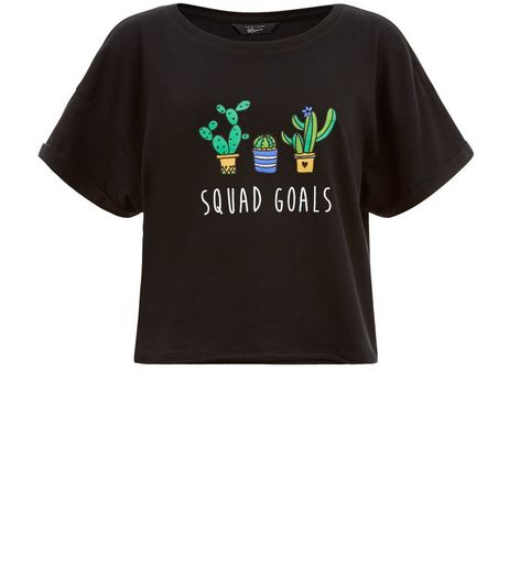 Teens Black Squad Goals Print Crop T-Shirt | New Look