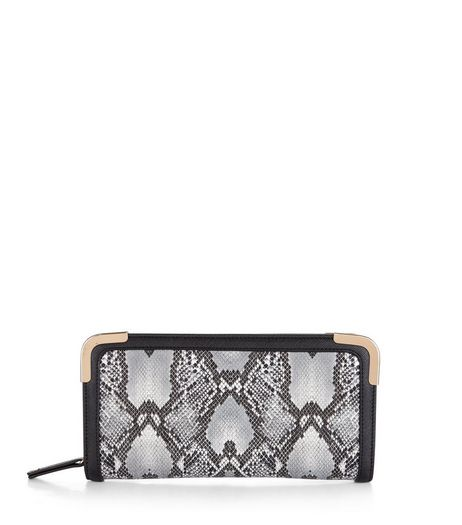Grey Snakeskin Contast Trim Purse | New Look