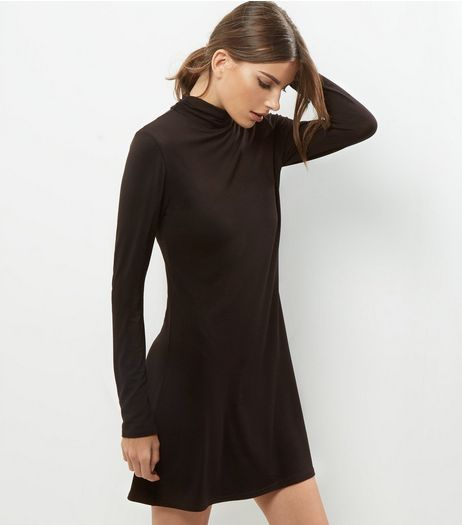Black Funnel Neck Long Sleeve Dress | New Look
