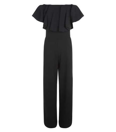 Black Ruffle Trim Bardot Neck Jumpsuit  | New Look