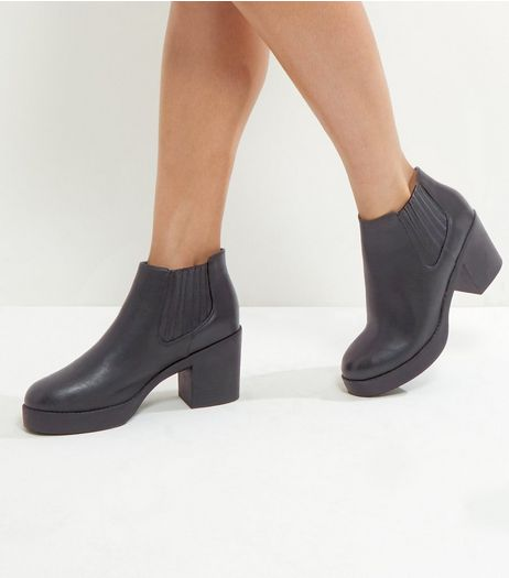 Wide Fit Black Chunky Platform Ankle Boots | New Look