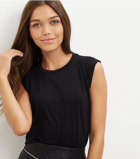 Black Ruched Shoulder Vest  | New Look