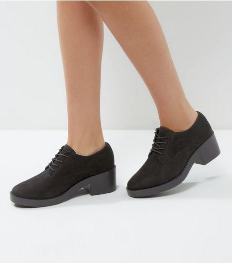 Black Suedette Lace Up Block Heel Brogues | New Look