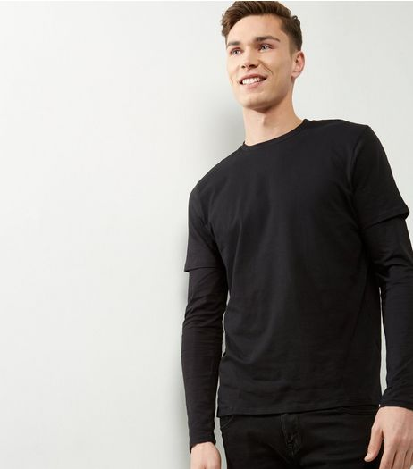 Black Layered Long Sleeve T-Shirt | New Look