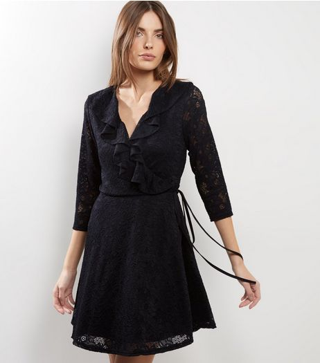 Black Lace Frill Trim Wrap Front Dress | New Look