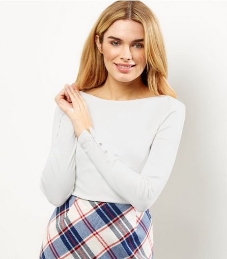 Cream Ribbed Popper Cuff Long Sleeve Top  | New Look