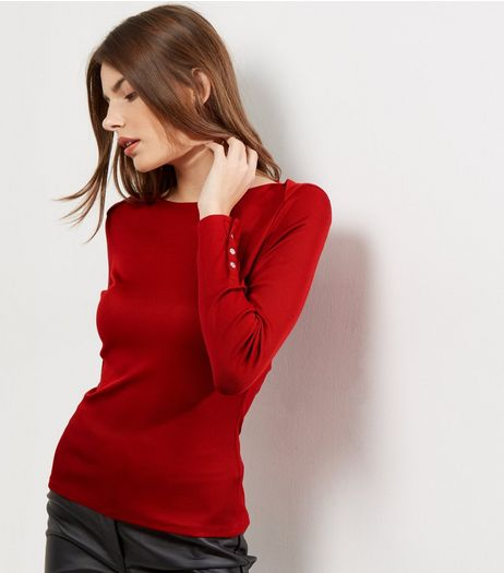 Dark Red Ribbed Popper Cuff Long Sleeve Top | New Look