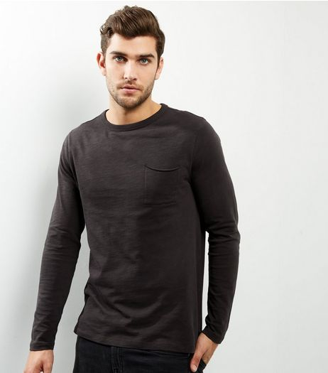 Dark Grey Pocket Front Long Sleeve T-shirt | New Look