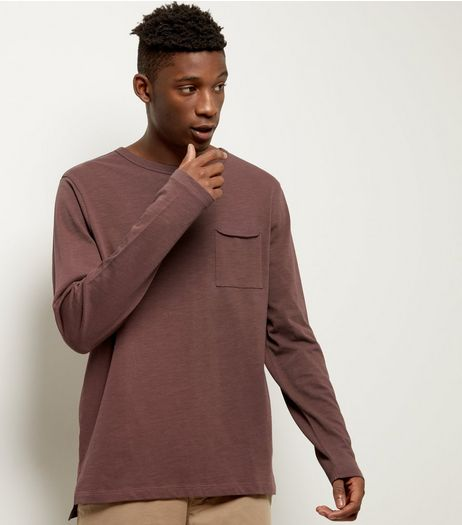 Dark Purple Pocket Front Long Sleeve T-shirt | New Look