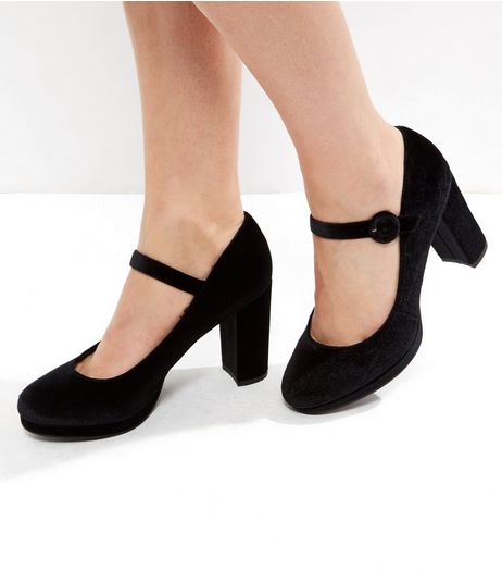 Black Velvet Strap Front Block Heel Court Shoes | New Look