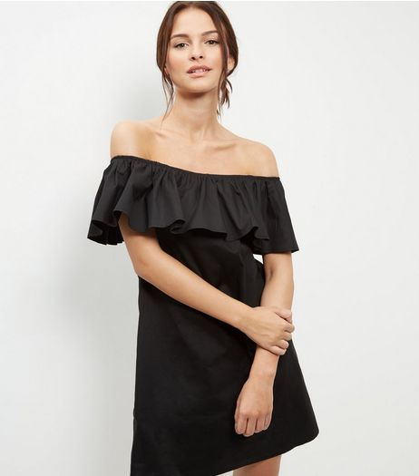 Loving This Black Bardot Neck Frill Dress | New Look
