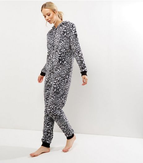 Monochrome Leopard Print Hooded Onesie  | New Look