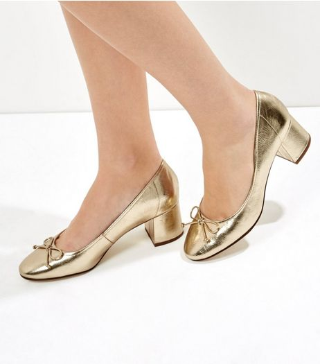 Gold Metallic Bow Front Mini Block Heels | New Look