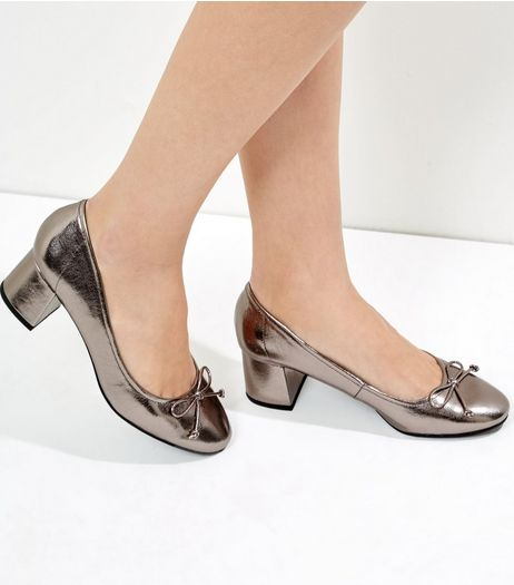 Pewter Metallic Bow Front Mini Block Heels | New Look