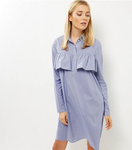 Blue Frill Trim Long Sleeve Shirt Dress | New Look