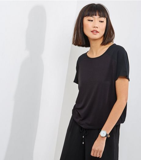 Black Woven Cord Hem T-Shirt  | New Look
