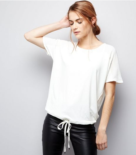 Cream Tie Waist Short Sleeve T-Shirt  | New Look