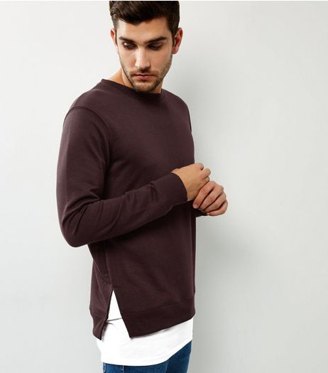 Burgundy Split Hem Layered Sweater | New Look