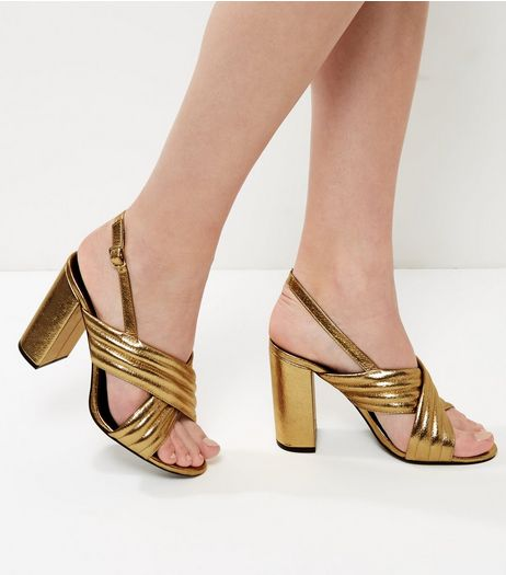 Wide Fit Gold Cross Strap Sling Back Heels | New Look