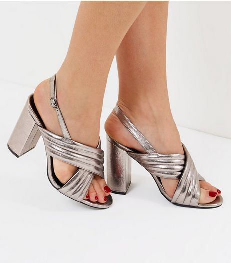 Wide Fit Pewter Cross Strap Sling Back Heels | New Look
