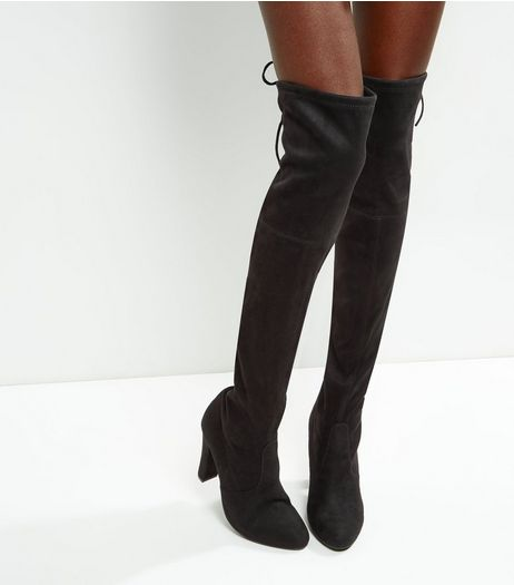 Black Suedette Tie Up Over The Knee Boots | New Look