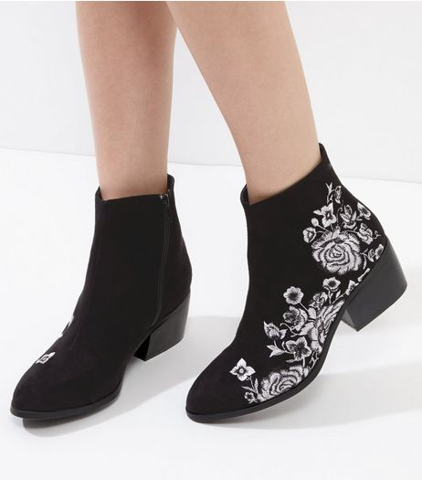 Black Embroidered Block Heel Ankle Boots | New Look